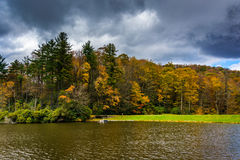 Autumn color and trail at the Trout Lake in Moses H. Cone Park. Autumn color at the Trout Lake at Moses H. Cone Park, on the Blue Ridge Parkway, North Carolina Stock Image
