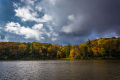 Autumn color at the Trout Lake at Moses H. Cone Park, on the Blu Royalty Free Stock Photo