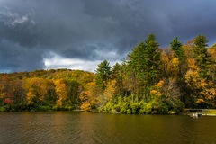 Autumn color at the Trout Lake at Moses H. Cone Park, on the Blu Royalty Free Stock Photography