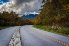 Autumn color and view of Grandfather Mountain along the Blue Rid Stock Photos