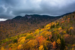 Autumn color and view of Grandfather Mountain from Rough Ridge, Stock Photos