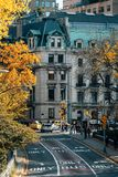 Autumn color and view of 84th Street in the Upper East Side, from Central Park, Manhattan, New York City.  royalty free stock image