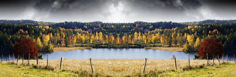 Autumn colored landscape, lakes and forest Stock Images