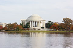 Autumn colored trees around Thomas Jefferson Memorial and Tidal Basin in Washington DC, USA. Stock Image