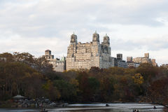 Autumn colored trees with buildings behind them. Photo shot from inside Central Park in New York Royalty Free Stock Images