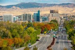 Autumn colored trees on a main street Boise Idaho Stock Photo