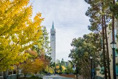 Autumn colored trees in the UC Berkeley campus. November 19, 2017 Berkeley/CA/USA - Autumn colored trees in the UC Berkeley campus; Sather Tower Campanile in the stock photo