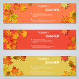 Autumn style banners vector collection. Autumn colorful leaves horizontal vector banners collection royalty free illustration
