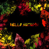 Autumn colorful leaves imprints Royalty Free Stock Image