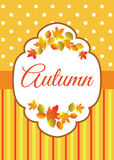 Autumn colorful leaves. Autumn invitation or greeting card with stripes, polka dot and orange leaves on yellow background Stock Photography
