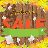 Autumn colorful sale wooden background Stock Images