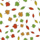Autumn Colorful Tree Leaves Seamless Pattern. Autumn colorful tree leaves seamless pattern on white. Vector endless texture with green, red and yellow leaves Royalty Free Stock Photo