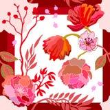 Autumn Colors Écharpe en soie avec les fleurs de floraison Photo stock