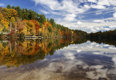 Autumn Colors. Autumn trees reflected in the water at the lake Stock Photo