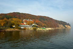 Autumn colors. One of the fishermen's settlements in autumn scenery on the Polish coast Stock Images