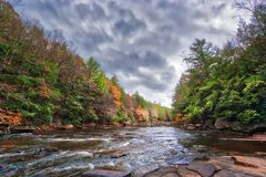 Autumn colors ablaze on a wild river in the Appalachian mountain. Vivid Autumn colors abound along the rapids of a wild river in the Appalachian mountains of Royalty Free Stock Photo