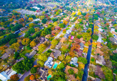 Autumn Colors Aerial on Historic Homes in Austin , Texas Stock Photography