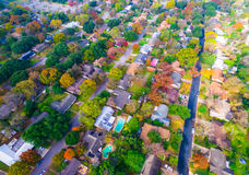 Autumn Colors Aerial on Historic Homes in Austin , Texas Stock Images