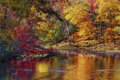 Autumn Colors Along a costa do lago mountain das baías fotografia de stock