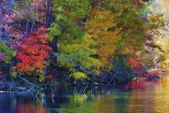 Autumn Colors Along a costa do lago mountain das baías imagens de stock