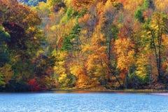 Autumn Colors Along a costa do lago mountain das baías fotos de stock royalty free