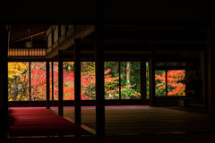 Autumn colors behind Tenju-an Temple building, Kyoto Royalty Free Stock Image