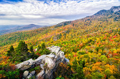 Autumn colors, Blue Ridge Parkway. Peak fall foliage from Boone Fork overlooking the Lynn Cove Viaduct on the Blue Ridge Parkway in North Carolina. Grandfather Royalty Free Stock Photography