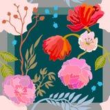 Autumn Colors Bufanda de seda con las flores florecientes Fotografía de archivo libre de regalías