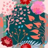 Autumn Colors Bufanda de seda con las flores florecientes Imagen de archivo libre de regalías