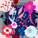 Autumn Colors Bufanda de seda con las flores florecientes Foto de archivo libre de regalías