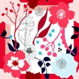Autumn Colors Bufanda de seda con las flores florecientes Fotografía de archivo
