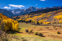 Autumn Colors in the Colorado Rockies. Spectacular mountains soaring above a Autumn colored Aspen Forest near Ouray, Colorado Stock Photography