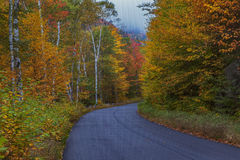 Autumn Colors. Colorful fall foliage lines the road near Evans Notch along the Maine, New Hampshire border stock images