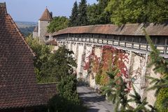 Autumn colors in creeper plant on city wall. Autumn scene around the Bavarian town of Rothenburg ob der Tauber, Germany a well-preserved walled medieval old town royalty free stock photos