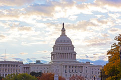 Autumn colors at dawn around US Capitol building in Washington DC. Stock Photos