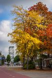 Autumn colors in a dutch town royalty free stock images