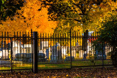 Autumn colors and a fence at the Gettysburg National Cemetery Stock Photos