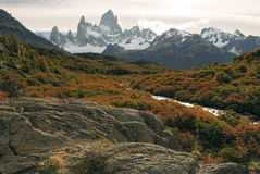 Mountain scenery in autumn colors, fitz roy massif sunset. Hiking up to mount fitz roy passing the most spectacular autumn scenery Stock Image
