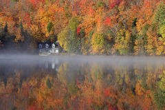 Autumn colors and fog reflections on the lake, Quebec, Canada Royalty Free Stock Photo