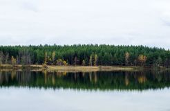 Autumn colors. Forest lake in autumn, Voskresensky district, Russia stock images