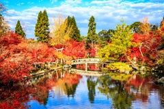 Autumn Colors i den Eikando templet, Kyoto, Kansai, Japan Royaltyfria Bilder