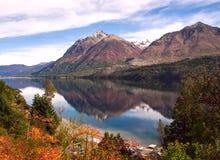 Autumn Colors i sjön Gutierrez, nära Bariloche Arkivbilder
