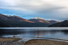 Autumn Colors in lago Guillelmo, Patagonia, Argentina Fotografia Stock