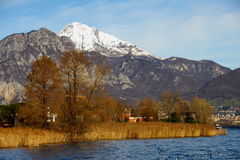 Autumn colors on the lake. In the foreground trees and shrubs yellowed water in the background the snow has whitened the tops of the mountains Royalty Free Stock Image