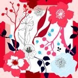 Autumn Colors Lenço de seda com flores de florescência Fotografia de Stock