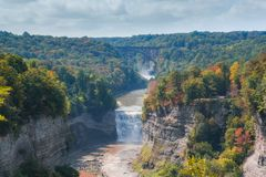 Autumn Colors at Letchworth State Park in New York. Colorful fall foliage on the trees at Letchworth State Park in Upstate New York stock image