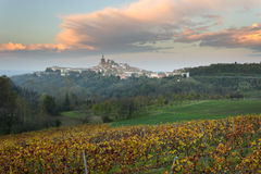 Autumn colors in the Monferrato hills at sunset Piedmont, Italy. Vineyard in the foreground. Village of Camagna in the background royalty free stock photo
