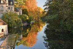 Autumn colors in Moret-sur-Loing Royalty Free Stock Photo