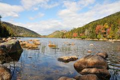 Autumn colors in the National Park of Bar Harbor, Royalty Free Stock Photos