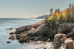 Autumn Colors på Rocky Maine Coast Arkivbilder